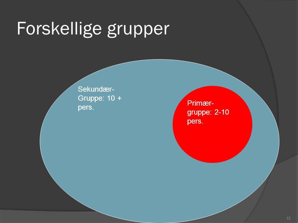 Forskellige grupper Sekundær- Gruppe: 10 + pers. Primær-