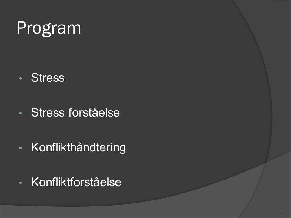 Program Stress Stress forståelse Konflikthåndtering Konfliktforståelse