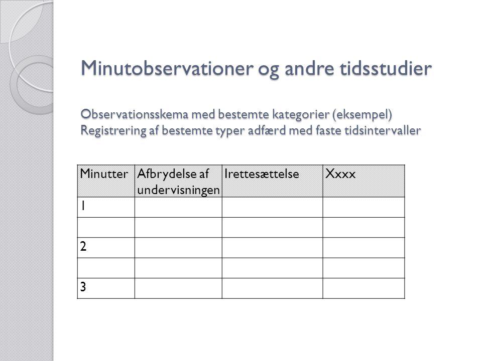 Minutobservationer og andre tidsstudier Observationsskema med bestemte kategorier (eksempel) Registrering af bestemte typer adfærd med faste tidsintervaller