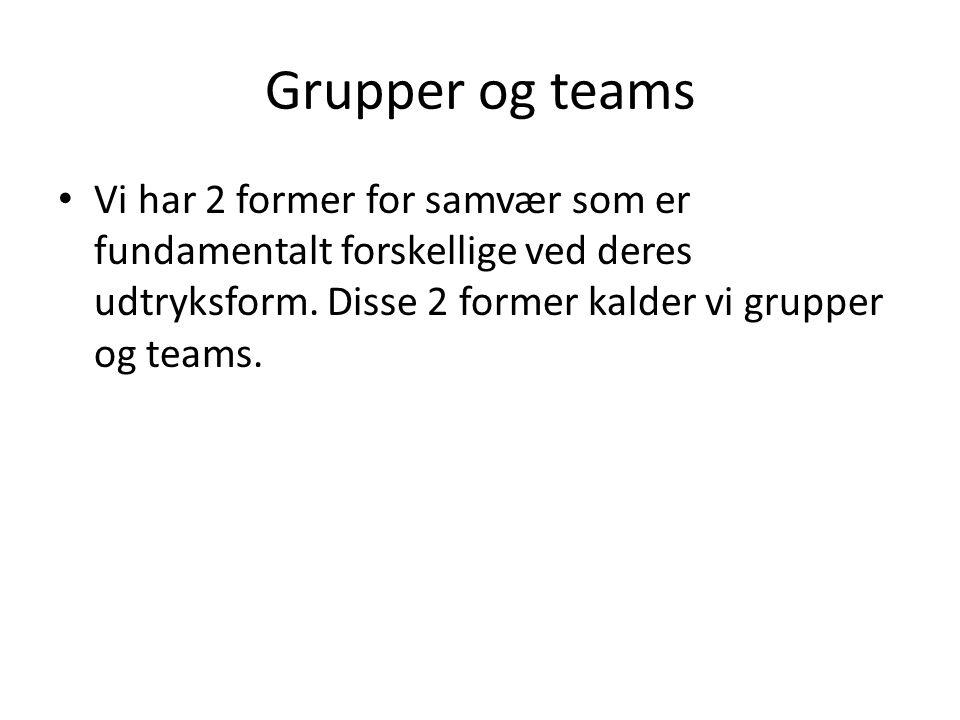 Grupper og teams Vi har 2 former for samvær som er fundamentalt forskellige ved deres udtryksform.