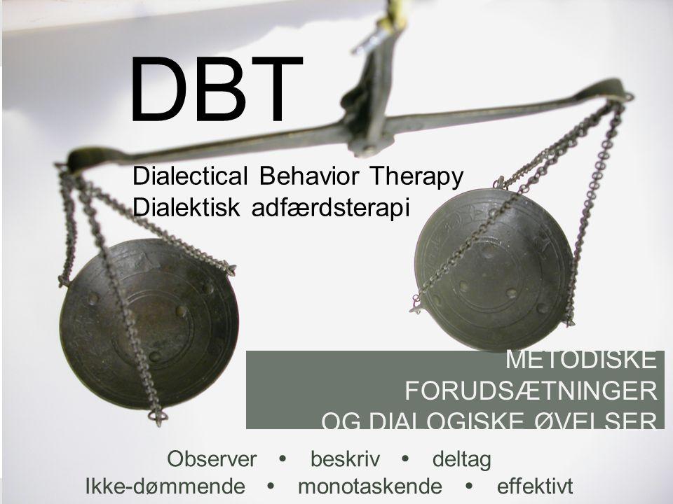 DBT Dialectical Behavior Therapy Dialektisk adfærdsterapi