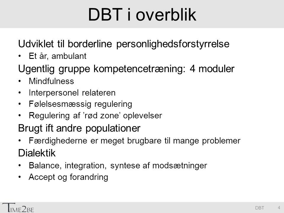 DBT i overblik Udviklet til borderline personlighedsforstyrrelse