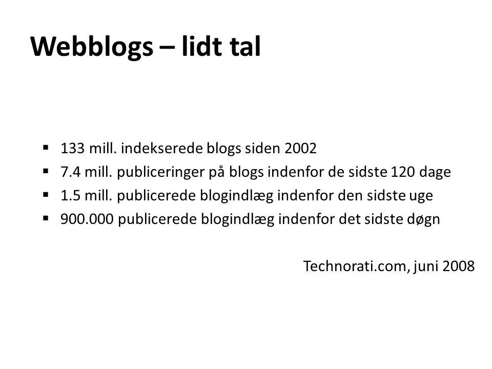 Webblogs – lidt tal 133 mill. indekserede blogs siden 2002