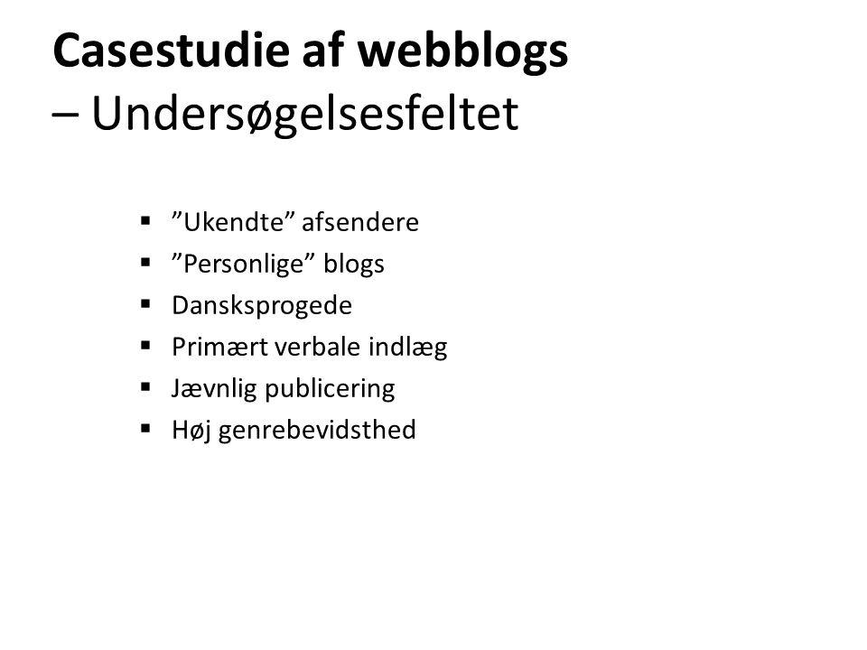 Casestudie af webblogs – Undersøgelsesfeltet