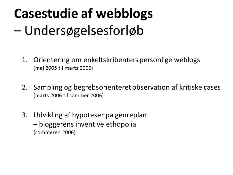 Casestudie af webblogs – Undersøgelsesforløb