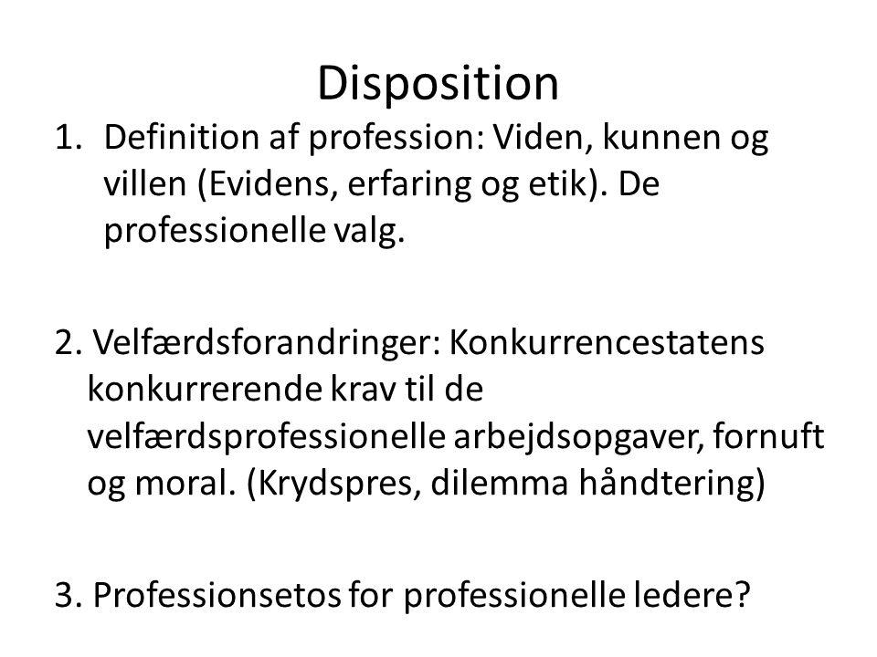 Disposition Definition af profession: Viden, kunnen og villen (Evidens, erfaring og etik). De professionelle valg.
