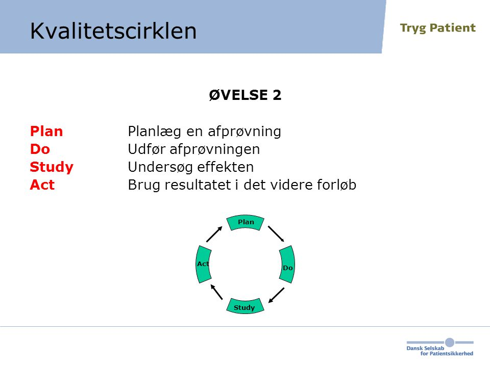 Kvalitetscirklen ØVELSE 2 Plan Planlæg en afprøvning