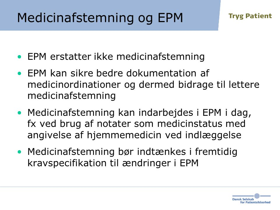 Medicinafstemning og EPM