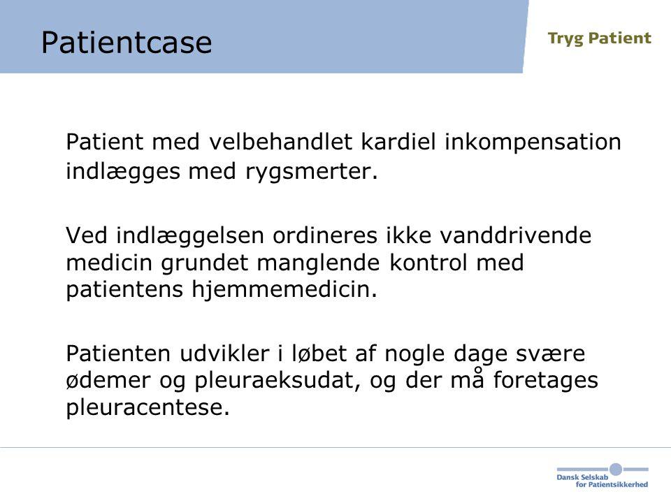 Patientcase Patient med velbehandlet kardiel inkompensation indlægges med rygsmerter.