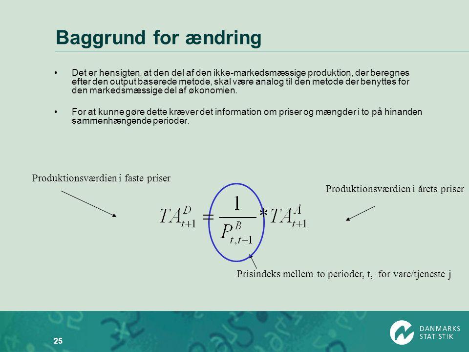 Baggrund for ændring Produktionsværdien i faste priser