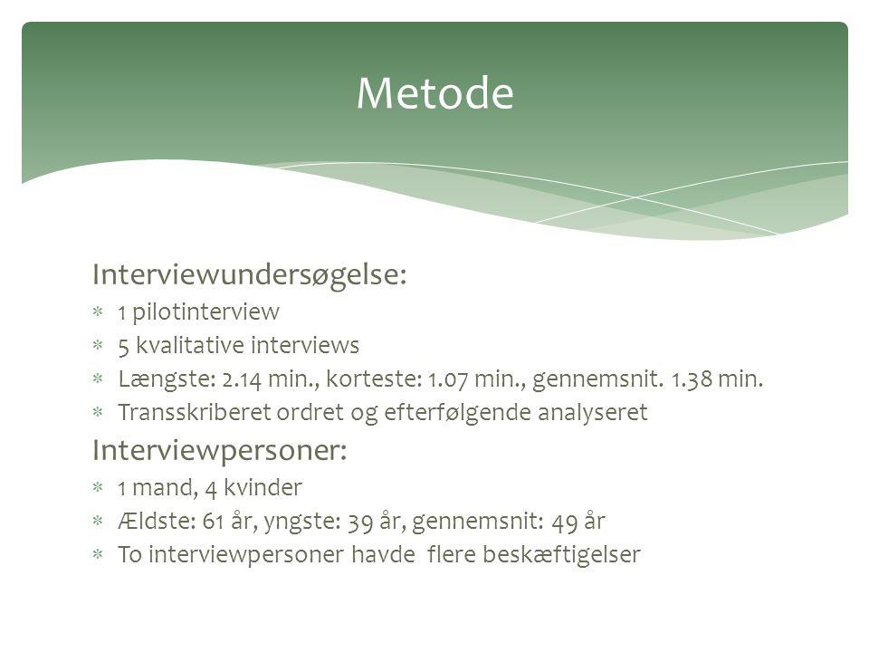 Metode Interviewundersøgelse: Interviewpersoner: 1 pilotinterview