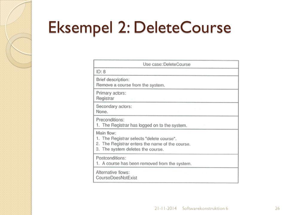 Eksempel 2: DeleteCourse