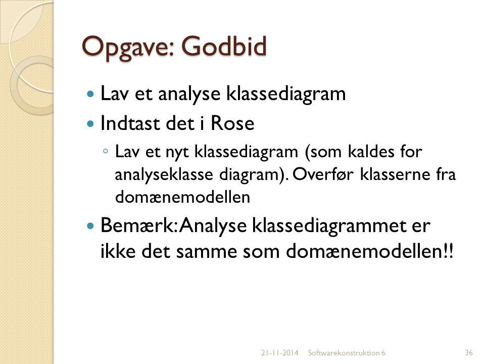 Opgave: Godbid Lav et analyse klassediagram Indtast det i Rose