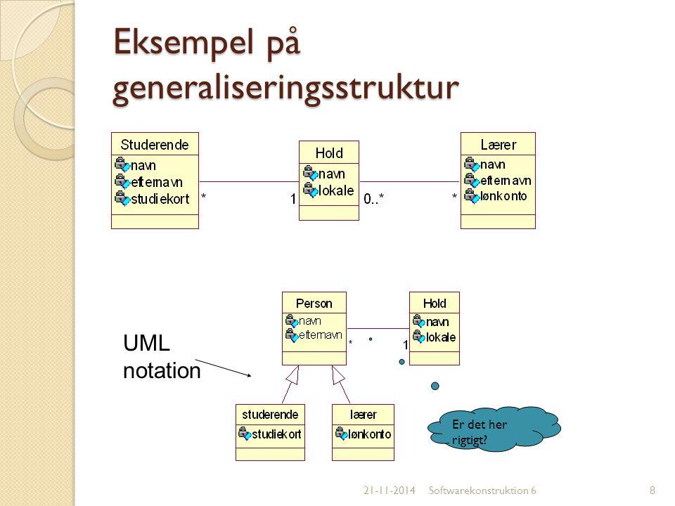 Eksempel på generaliseringsstruktur