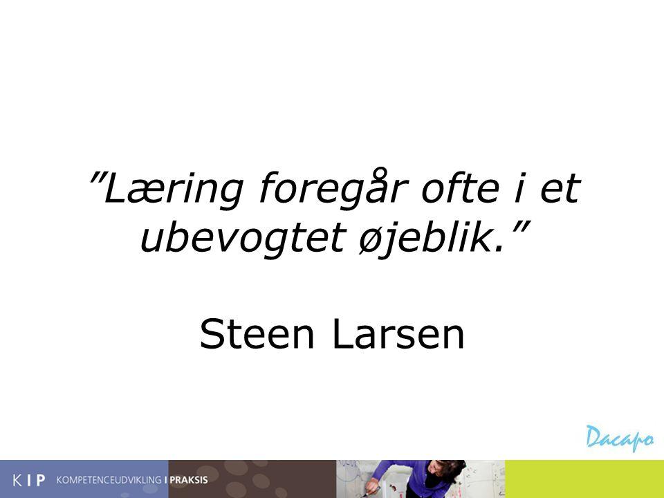Læring foregår ofte i et ubevogtet øjeblik. Steen Larsen