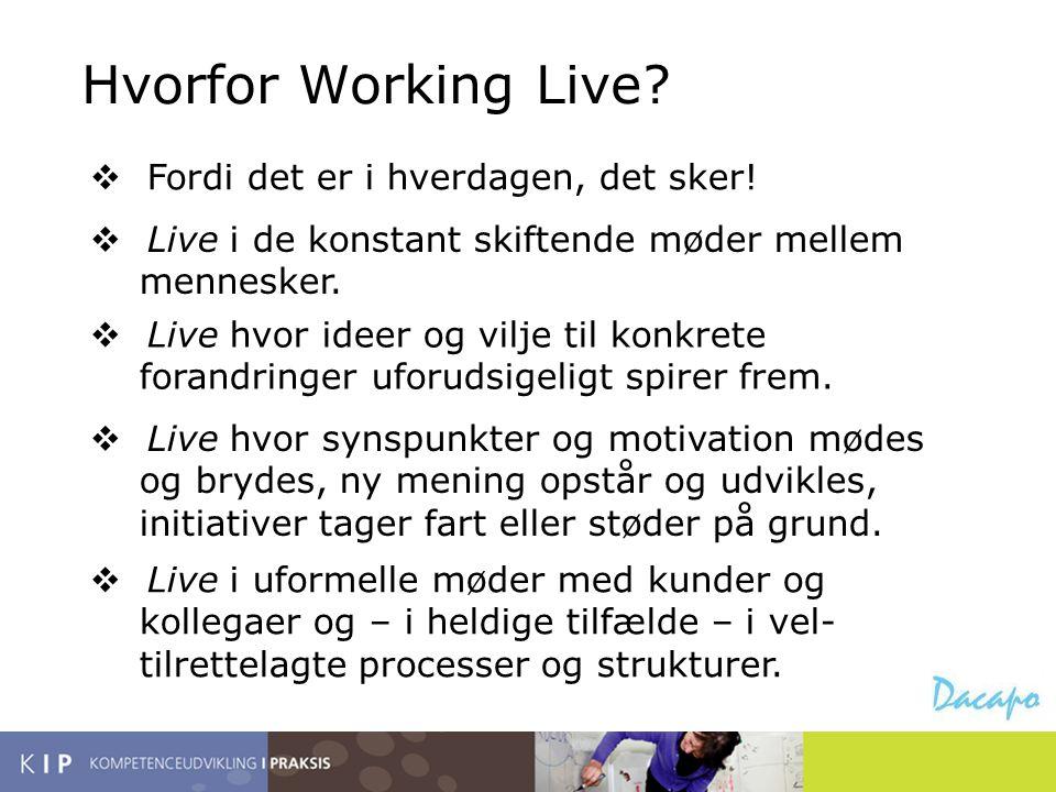 Hvorfor Working Live Fordi det er i hverdagen, det sker!