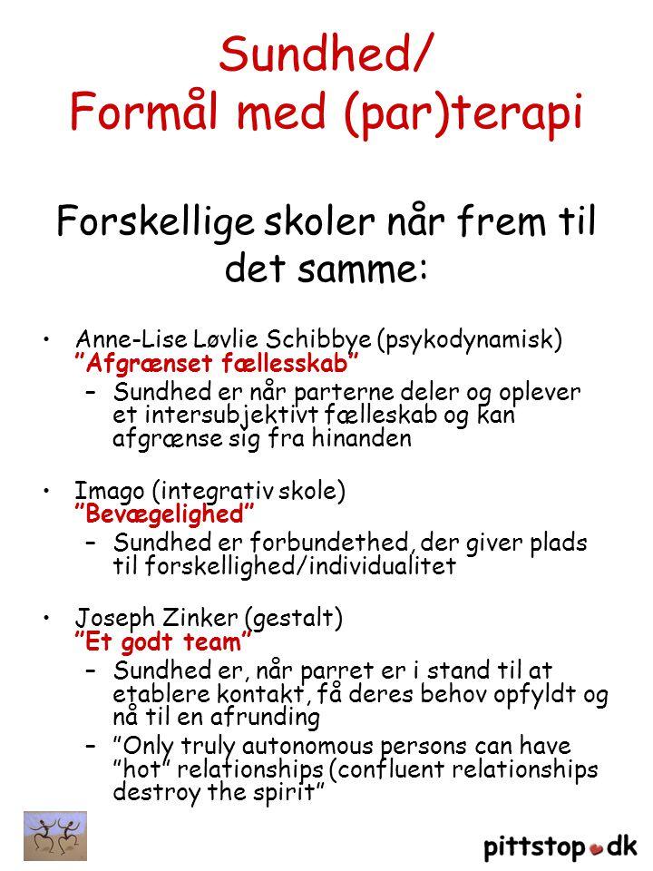 Sundhed/ Formål med (par)terapi Forskellige skoler når frem til det samme:
