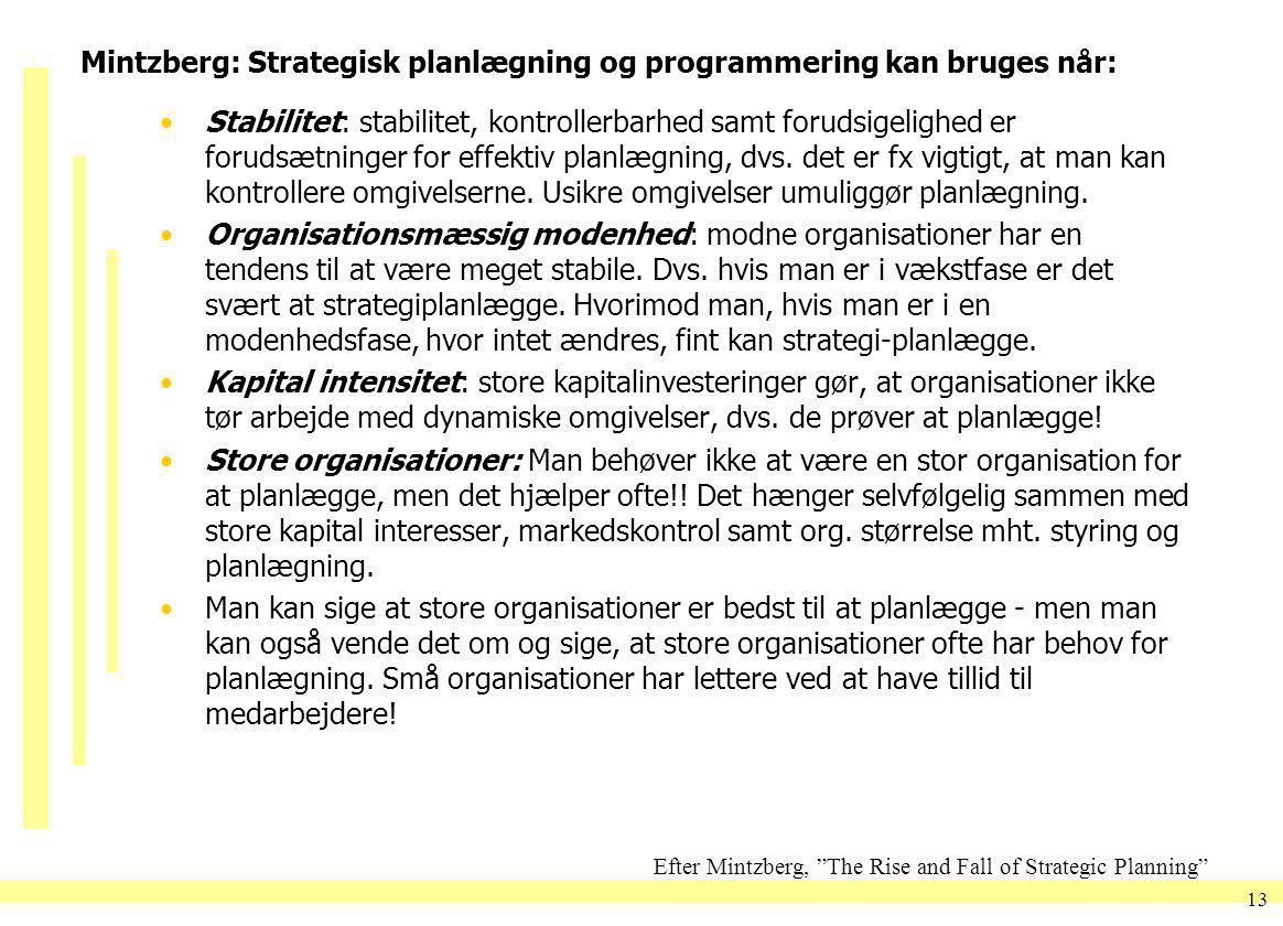 Mintzberg: Strategisk planlægning og programmering kan bruges når: