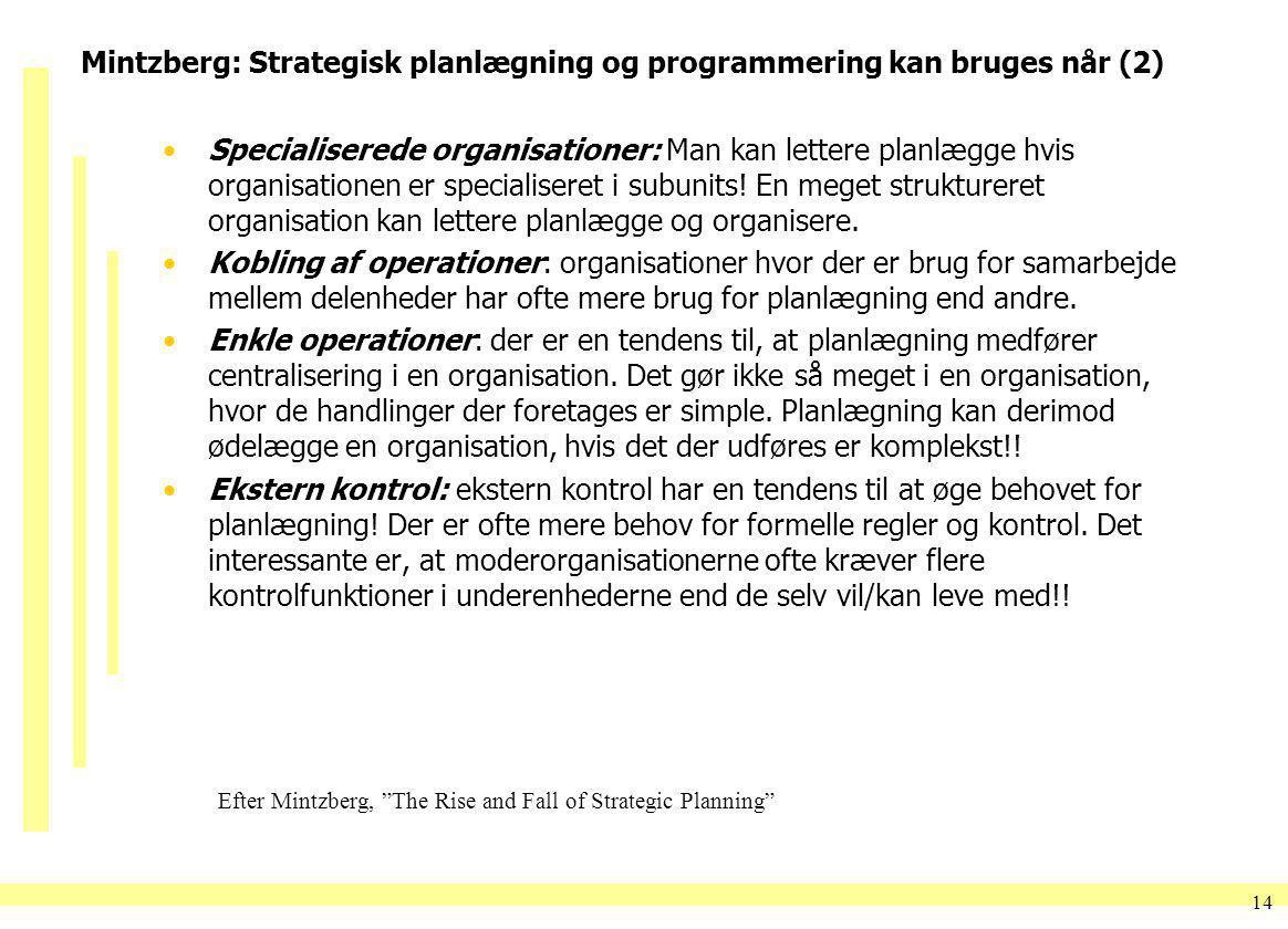 Mintzberg: Strategisk planlægning og programmering kan bruges når (2)