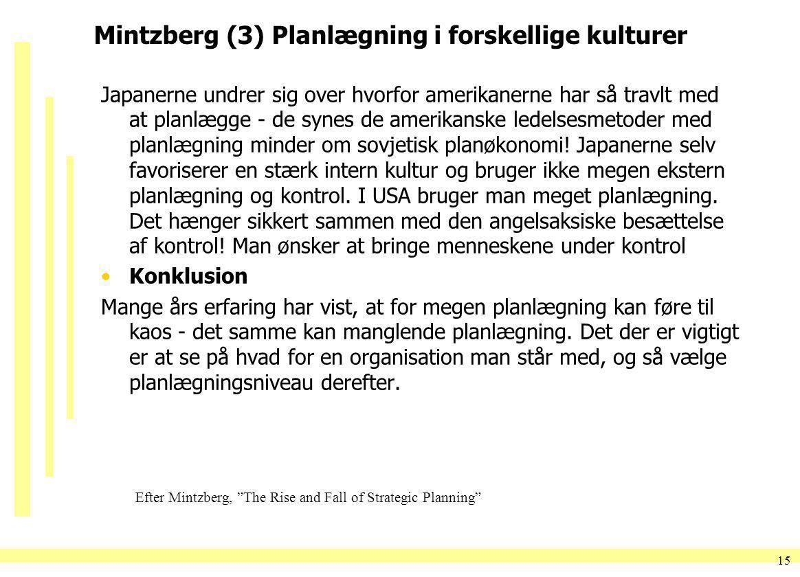 Mintzberg (3) Planlægning i forskellige kulturer