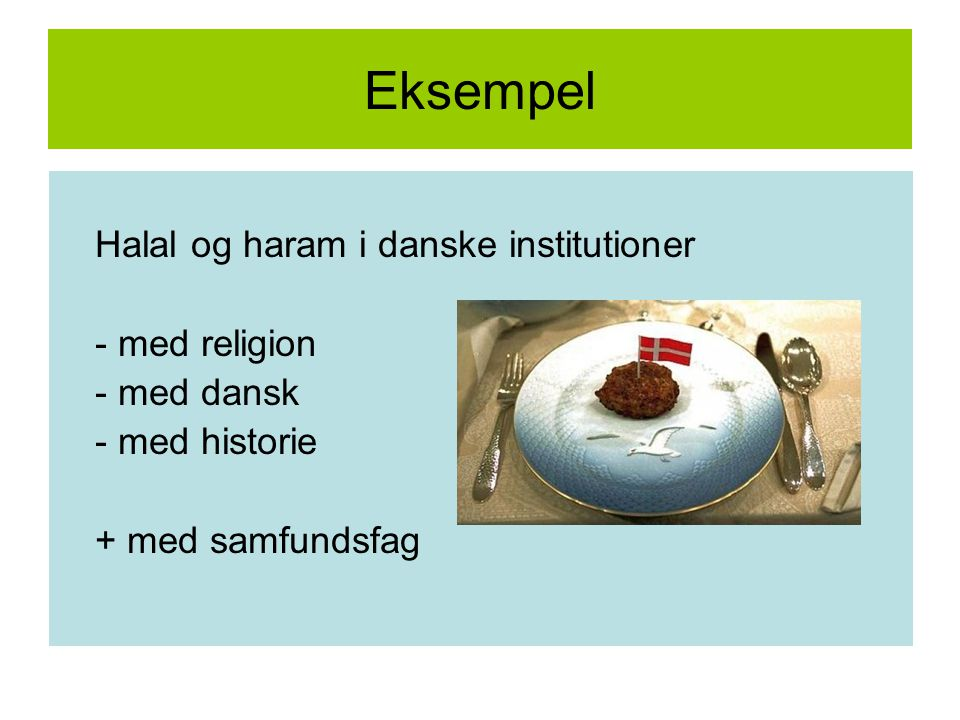 Eksempel Halal og haram i danske institutioner - med religion
