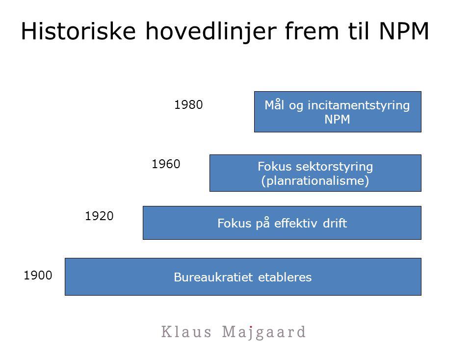 Historiske hovedlinjer frem til NPM