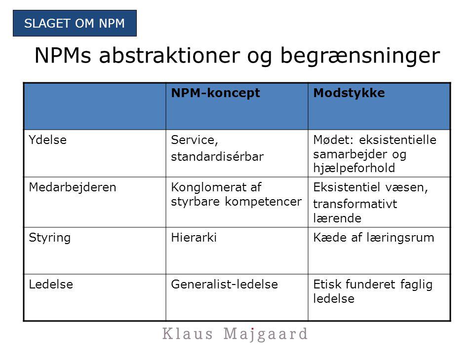 NPMs abstraktioner og begrænsninger