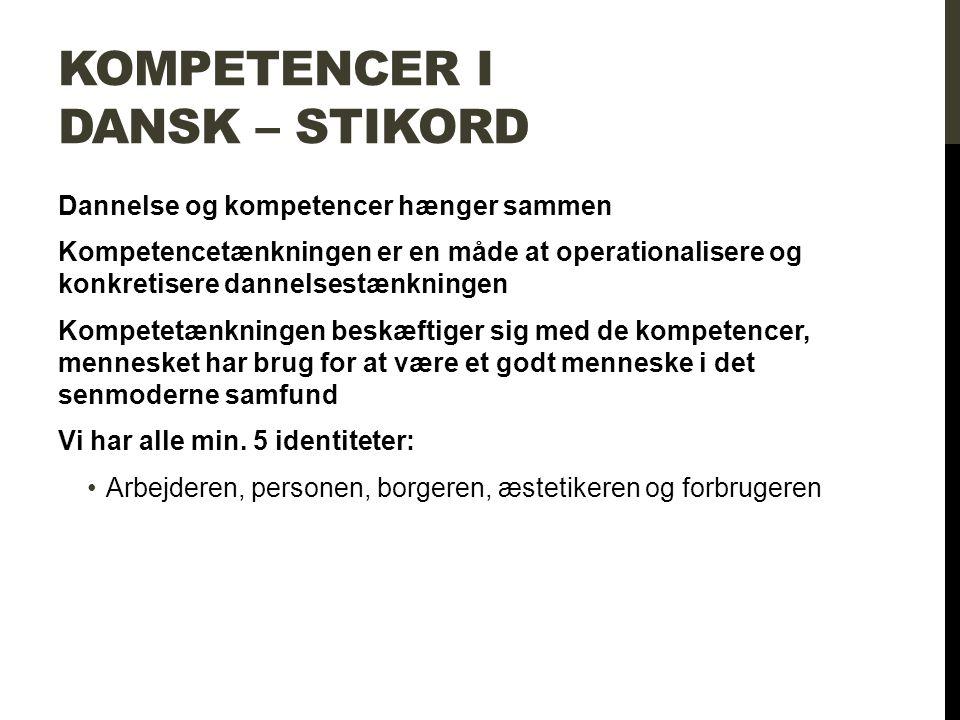 Kompetencer i dansk – stikord