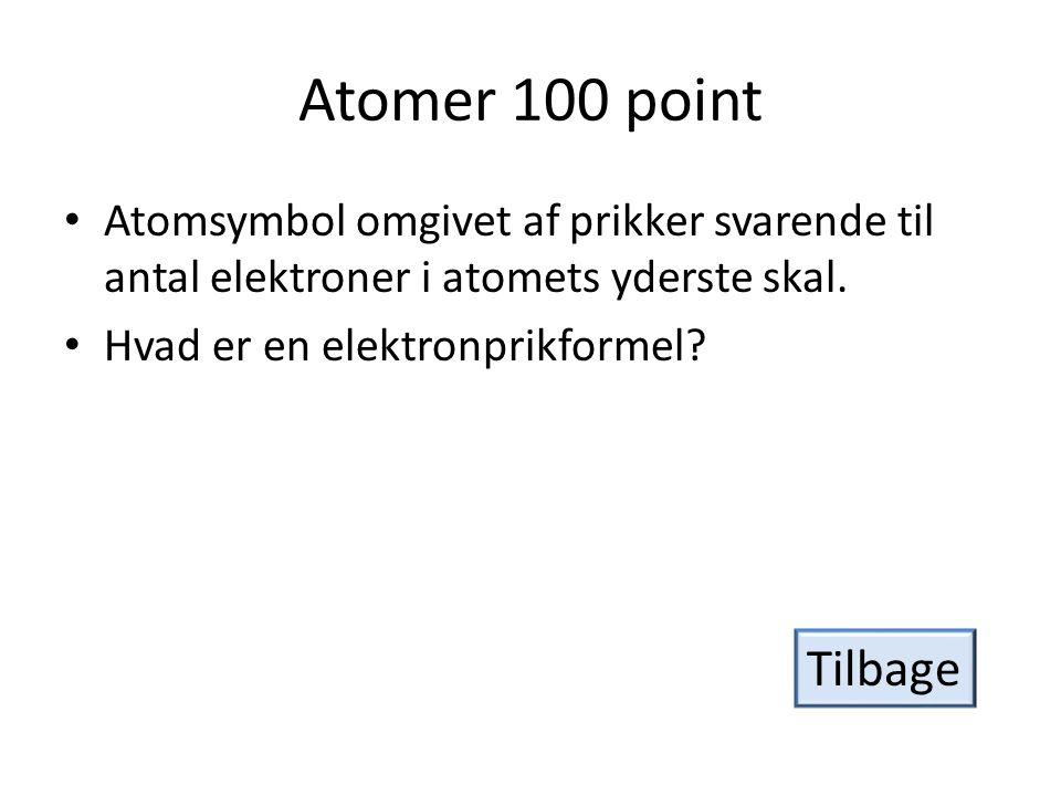 Atomer 100 point Atomsymbol omgivet af prikker svarende til antal elektroner i atomets yderste skal.