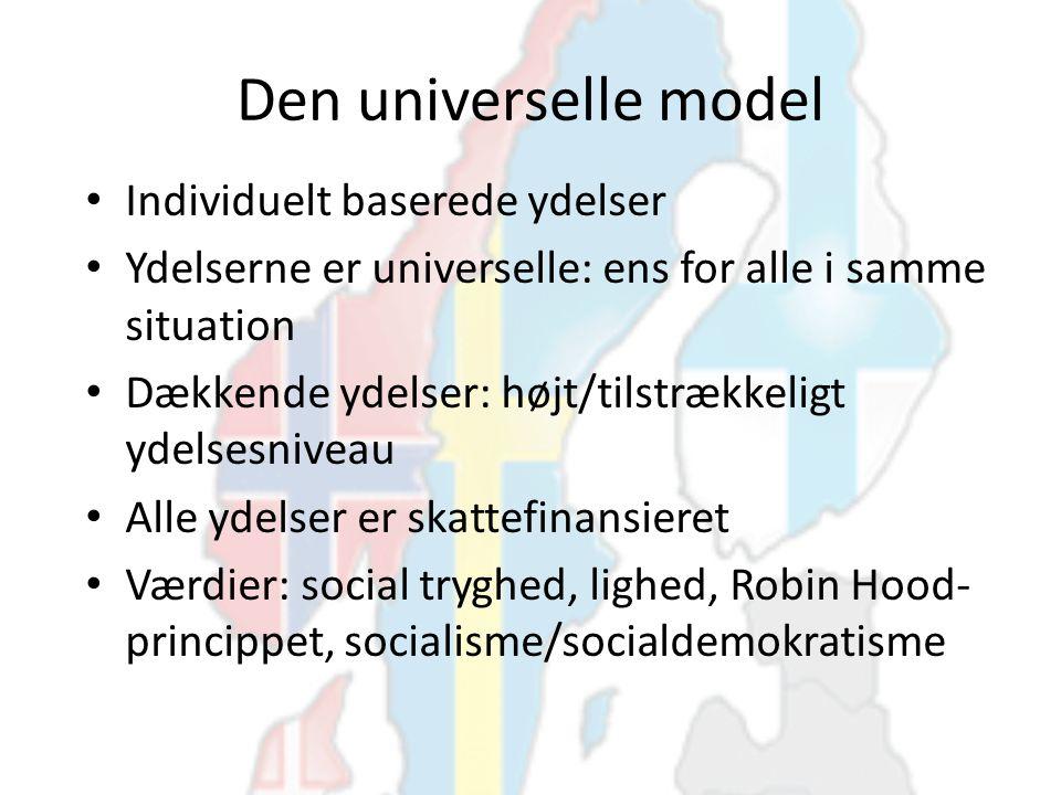 Den universelle model Individuelt baserede ydelser