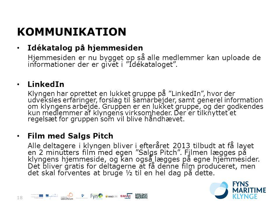 KOMMUNIKATION Idékatalog på hjemmesiden LinkedIn Film med Salgs Pitch