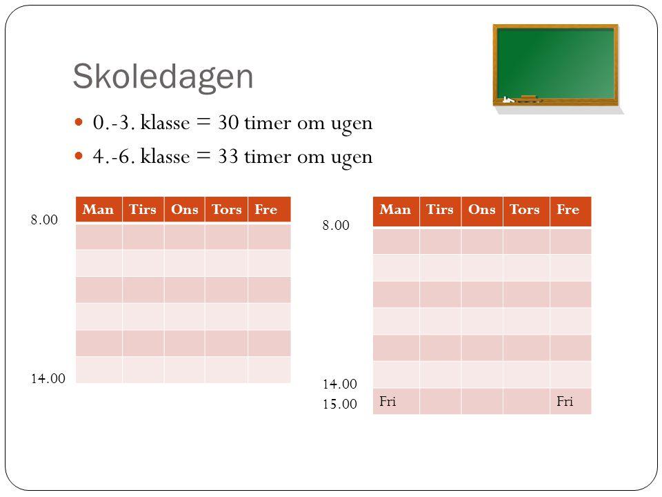 Skoledagen 0.-3. klasse = 30 timer om ugen