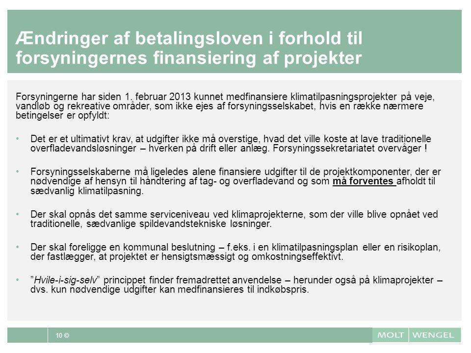 Ændringer af betalingsloven i forhold til forsyningernes finansiering af projekter