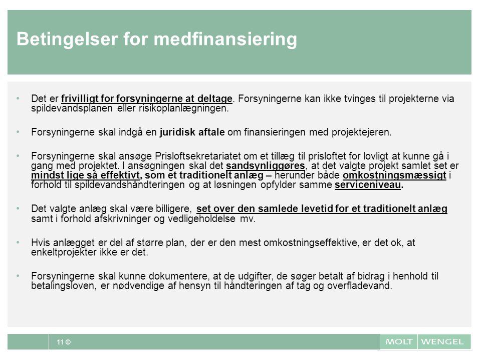 Betingelser for medfinansiering