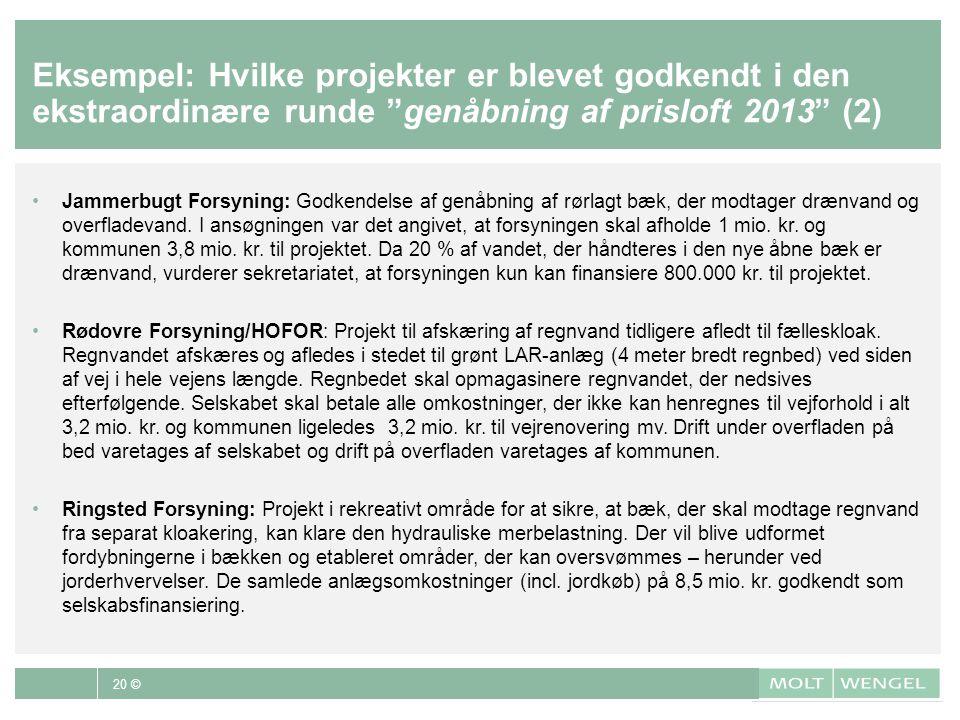 Eksempel: Hvilke projekter er blevet godkendt i den ekstraordinære runde genåbning af prisloft 2013 (2)