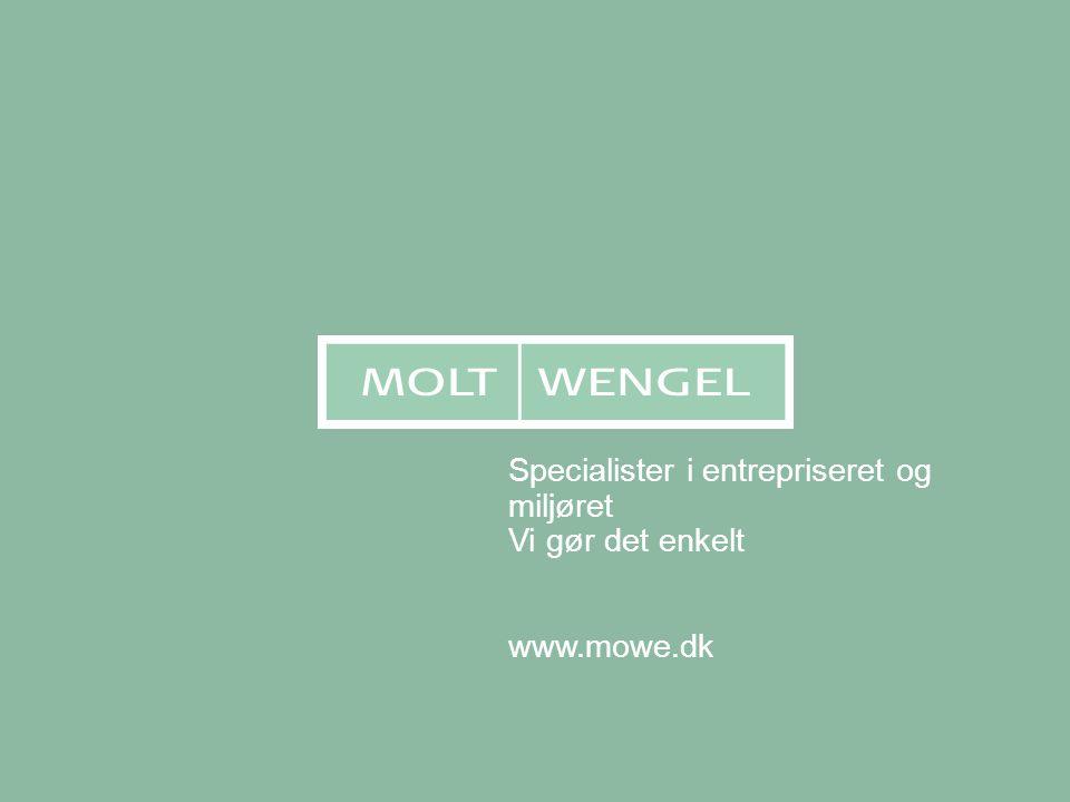 Specialister i entrepriseret og miljøret Vi gør det enkelt www.mowe.dk