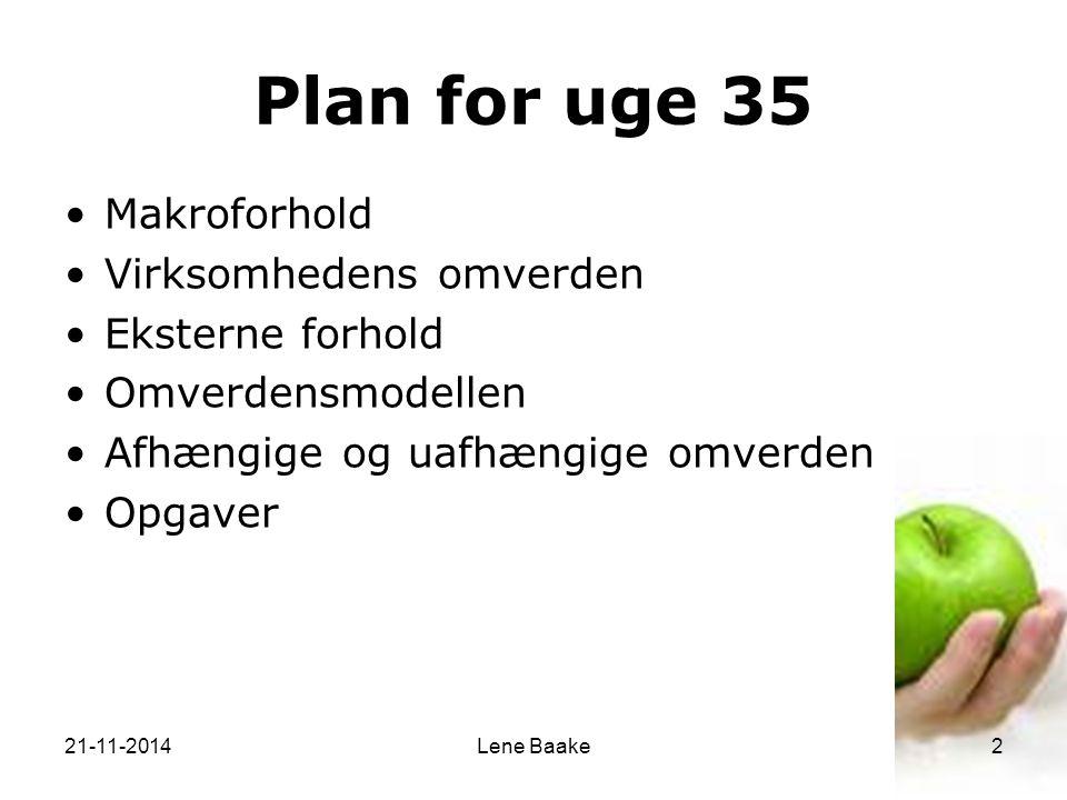 Plan for uge 35 Makroforhold Virksomhedens omverden Eksterne forhold