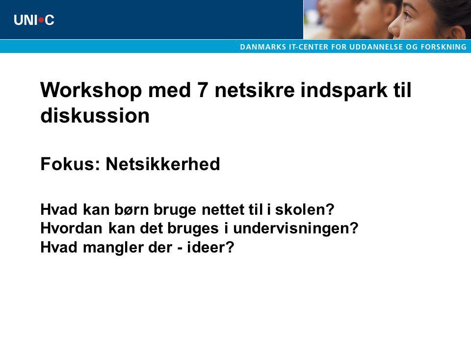 Workshop med 7 netsikre indspark til diskussion Fokus: Netsikkerhed Hvad kan børn bruge nettet til i skolen.