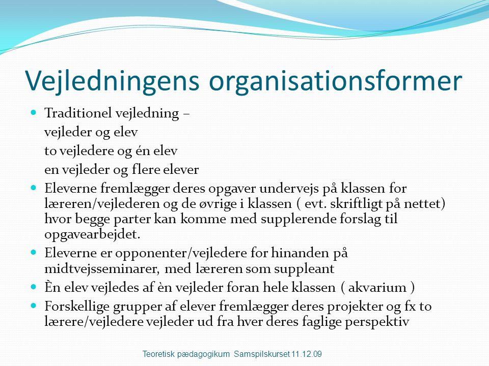 Vejledningens organisationsformer