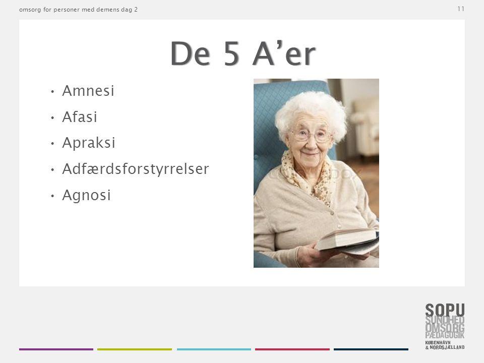 De 5 A'er • Amnesi • Afasi • Apraksi • Adfærdsforstyrrelser • Agnosi