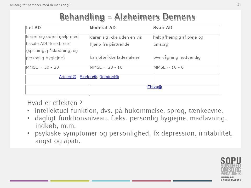 • intellektuel funktion, dvs. på hukommelse, sprog, tænkeevne,