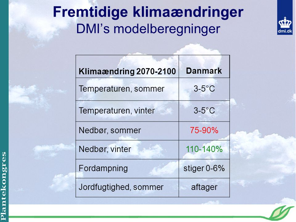 Fremtidige klimaændringer DMI's modelberegninger