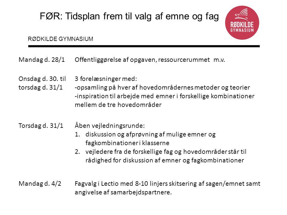 FØR: Tidsplan frem til valg af emne og fag