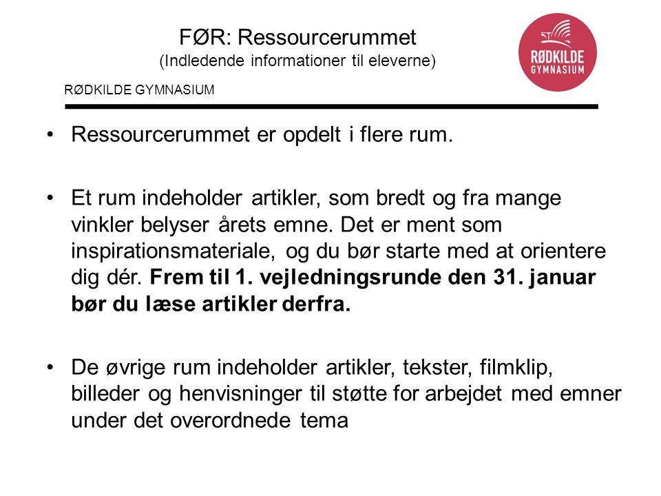 FØR: Ressourcerummet (Indledende informationer til eleverne)