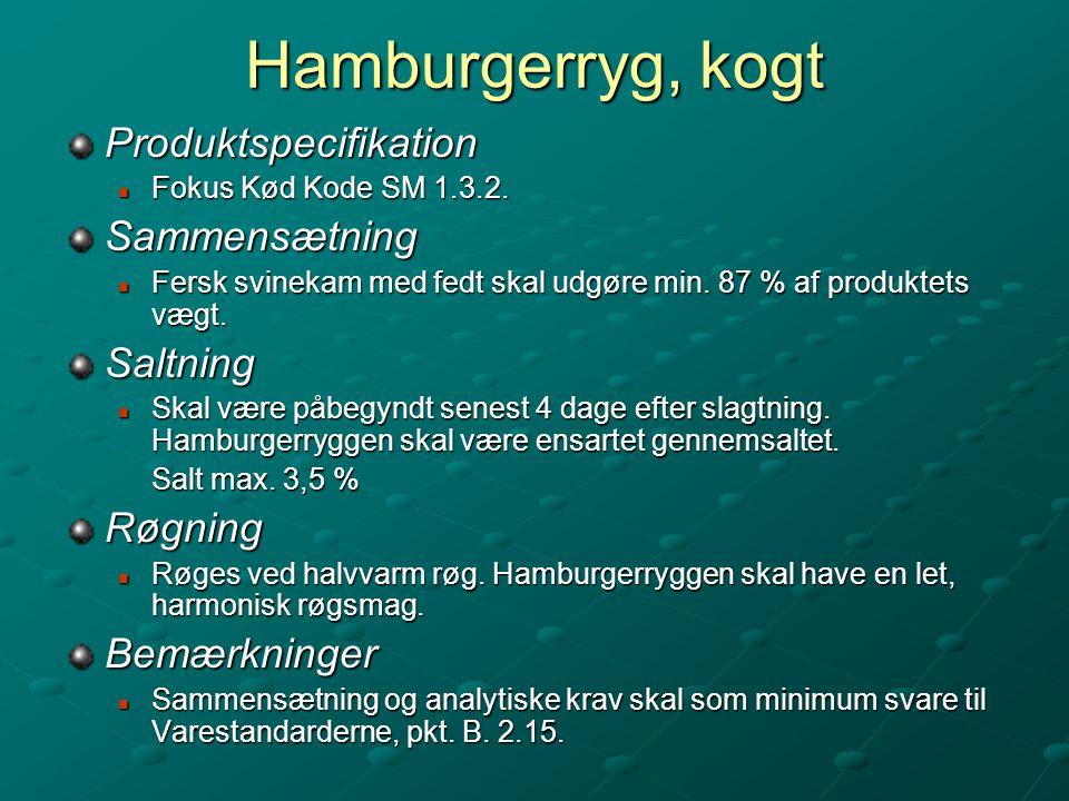 Hamburgerryg, kogt Produktspecifikation Sammensætning Saltning Røgning
