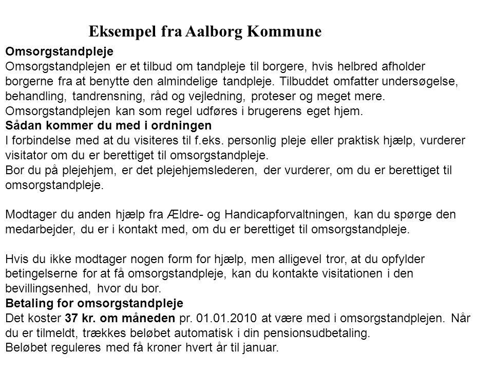 Eksempel fra Aalborg Kommune