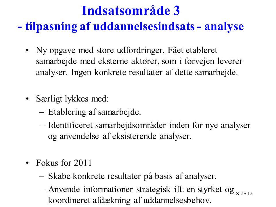 Indsatsområde 3 - tilpasning af uddannelsesindsats - analyse