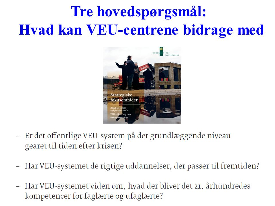 Hvad kan VEU-centrene bidrage med