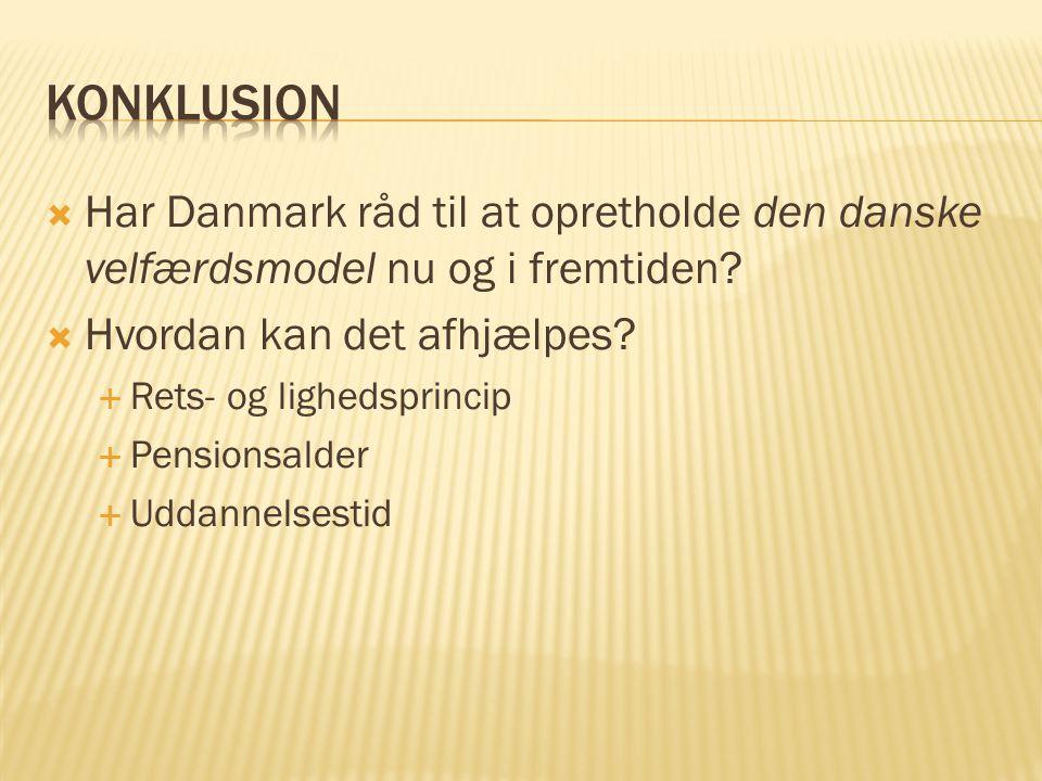 Konklusion Har Danmark råd til at opretholde den danske velfærdsmodel nu og i fremtiden Hvordan kan det afhjælpes