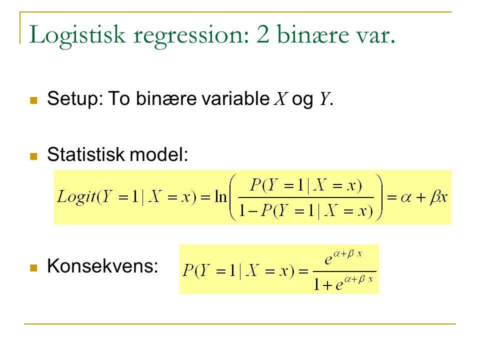 Logistisk regression: 2 binære var.